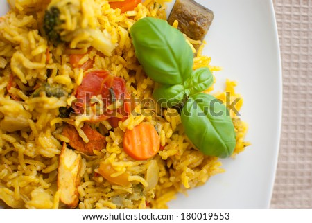 turmeric basmati rice with mediterranean vegetables and chicken