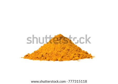 Turmeric (Curcuma longa Linn) powder pile isolated on white background