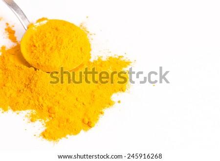 turmeric (Curcuma) Powder Isolated on White Background  - stock photo