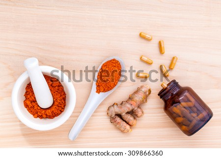 Turmeric for alternative medicine herbal supplements and herbal skin care . - stock photo