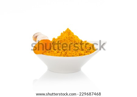 Turmeric fresh and dry isolated on white background. Asian culinary spice. - stock photo