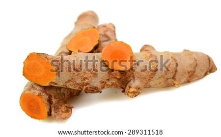 Turmeric haldi isolated on white - stock photo