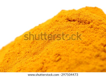turmeric pile isolated on white background