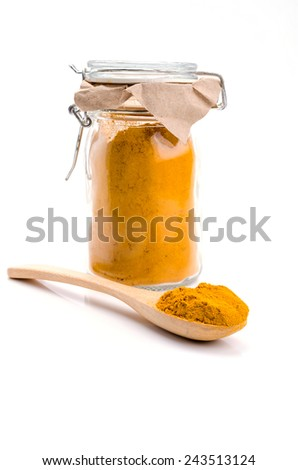 Turmeric powder for alternative medicine ,spa products and food ingredient. - stock photo