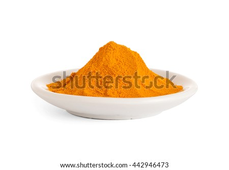 Turmeric powder in the White bowl on white background.