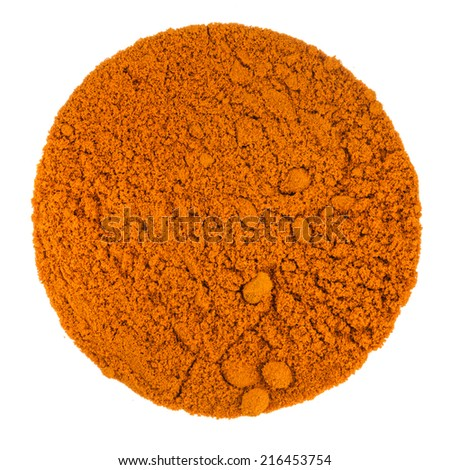 Turmeric Powder Macro Texture on aPerfect Circle Isolated on White Background - stock photo