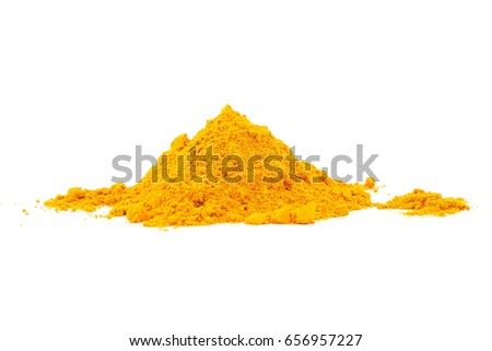 Turmeric powder on white background. Herbal