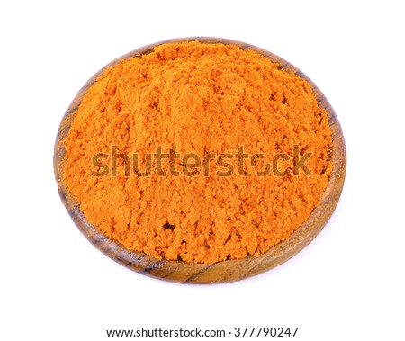 turmeric powder on wood bowl
