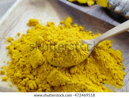 Turmeric powder on wooden plate background,Herbal Skin Care.