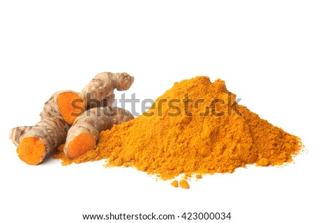 Turmeric rhizome and powder on white background