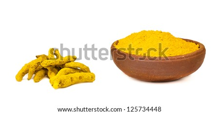 Turmeric Root and Turmeric Powder - Isolated on White. - stock photo