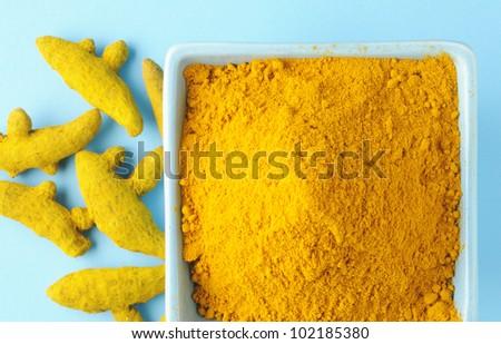 Turmeric ,turmeric powder - stock photo