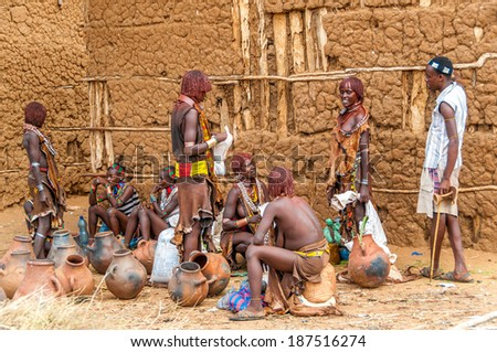 TURMI, ETHIOPIA - MARCH 17,2014 - The Hamar are an community inhabiting southwestern Ethiopia. They live in Hamer woreda , a fertile part of the Omo River valley.