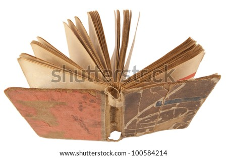 turn antique book isolated on a white - stock photo