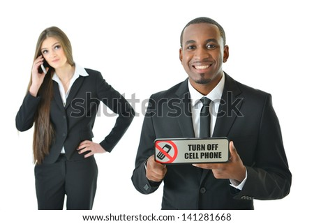 Turn off cell phone with smiling expression - stock photo