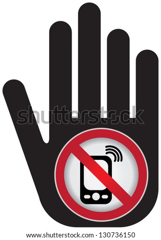 Turn Off Your Mobile Phone or Mobile Phone Are Not Allowed Prohibited Sign Present By Hand With Mobile Phone Are Not Allowed Prohibited Sign Inside Isolated on White Background - stock photo