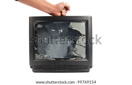 Turn off your TV. Kill it.man's hand punching TV - stock photo