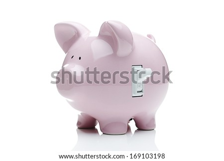 Turn on the savings. Piggy bank with a light switch. - stock photo