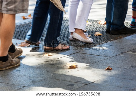 turn on the sidewalk in the city - stock photo