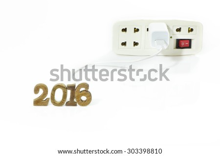 Turn on with multiple socket plug for New Year 2016 - stock photo