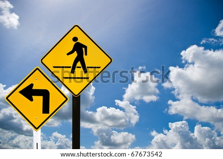 Turn right and a man walking sign