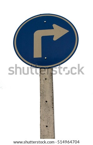 Turn right Signs Isolated on white