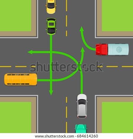 Turn Rules On Fourway Intersection Flat Stock Illustration 684614260