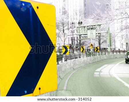 Turn Warning sign - stock photo
