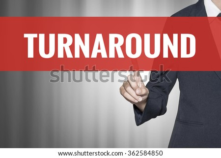 Turnaround word on virtual screen push by business woman red tab - stock photo