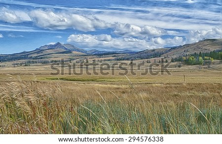 Turner Valley in Yellowstone National Park,digital oil painting - stock photo