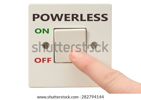 Turning off Powerless with finger on electrical switch - stock photo