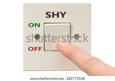Turning off Shy with finger on electrical switch - stock photo