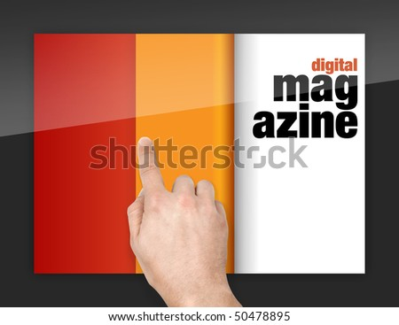 turning pages of digital magazine with finger on glossy screen - stock photo