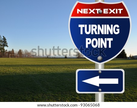 Turning point road sign - stock photo