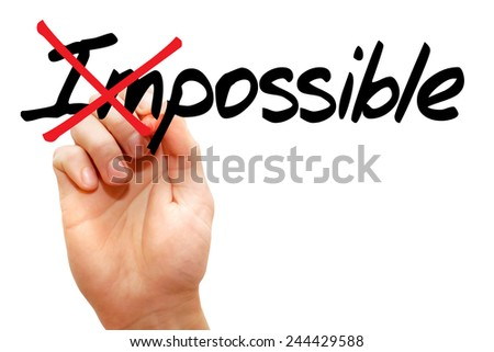 Turning the word Impossible into Possible, business concept - stock photo