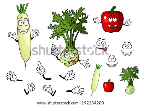 Turnip, radish and pepper vegetables in cartoon style for food design. Vector version also available in gallery - stock photo