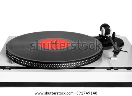 Turntable in gray case with black vinyl record with red label on disc with stroboscope marks isolated on white background. Horizontal black and white photo front view closeup - stock photo