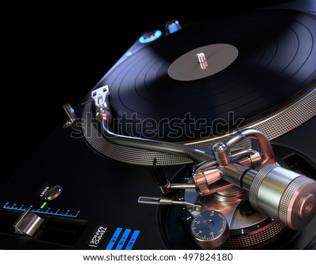Turntable Playing Vinyl - Abstract Background. 3D illustration