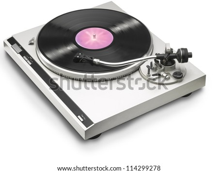 turntable stylus with record playing on 33 rpm