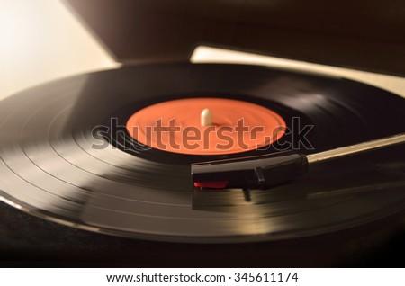 turntable vinyl record player - stock photo