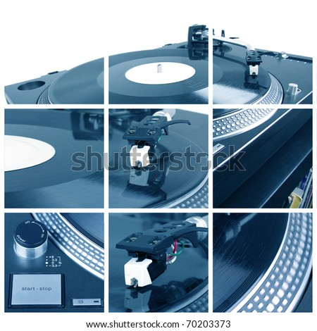 Turntable with dj needle collage. Closeup parts of turntable - stock photo