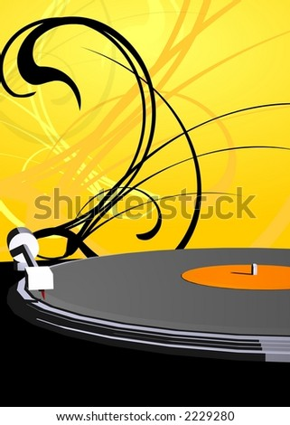 Turntable with yellow pattern