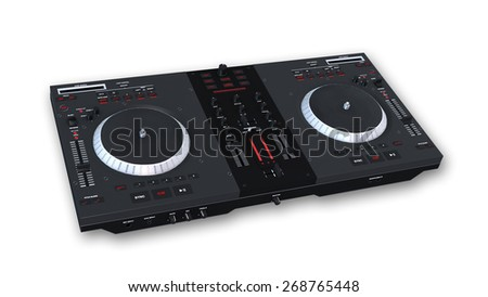 Turntables, DJ audio equipment isolated on white background - stock photo