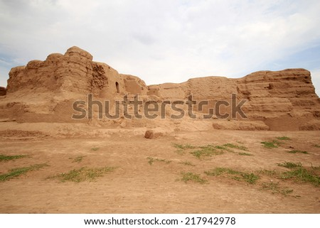 TURPAN, CHINA - JULY 24,2013: Jiaohe Ruins in Turpan, China. Jiaohe Ruins is an ancient Chinese archaeological site that was constructed in second century B.C.