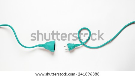 Turquise Power Cable isolated on white background - stock photo