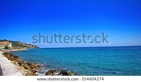 Turquise water of the bay on Zakynthos island, Greece - stock photo