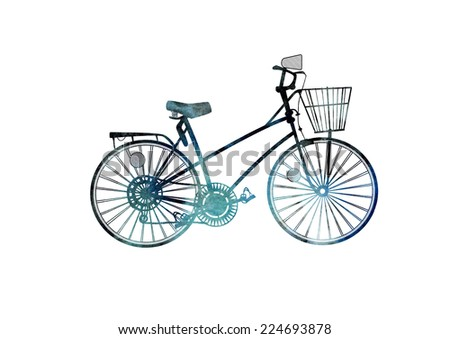 Turquoise and black watercolor and ink hand drawn retro bicycle . Model 1970 - stock photo