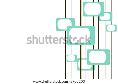 turquoise and brown retro pattern with room for text - stock photo