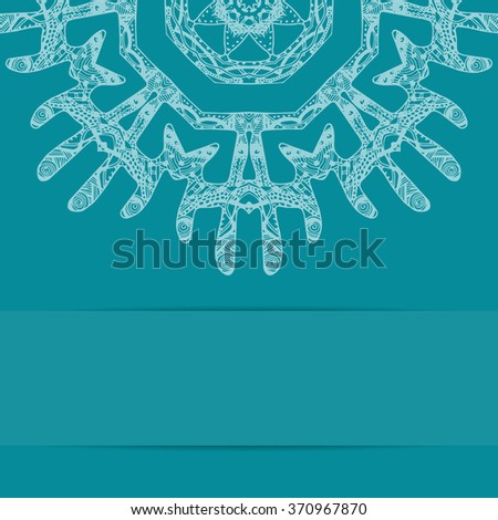 Turquoise blue card with ornate pattern and copy space. Zentangle style ornament - stock photo