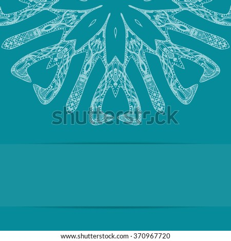 Turquoise blue card with ornate pattern in zentangle design and copy space below - stock photo